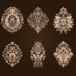 Vector set of damask ornamental elements. — Stock Vector