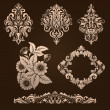 Vector set of damask ornamental elements. — Stock Vector