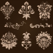Vector set of damask ornamental elements. — Stock Vector #32828055