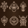 Vector set of damask ornamental elements. — Stockvectorbeeld