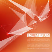 Abstract vector background. Futuristic style card. In red and orange colors. — Stock Vector