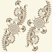 Vector abstract floral elements in indian mehndi style. Abstract henna floral vector illustration. Design element. — Stock Vector