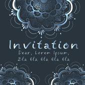 Cartão de convite de vetor com elemento floral — Vetor de Stock
