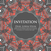 Vector invitation card with ornamental round lace — Stock Vector
