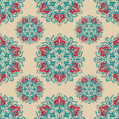 Vector ornamental round lace seamless pattern background — Stockvector