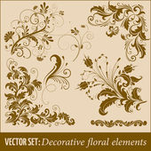 Vector set of floral design elements — Stock Vector
