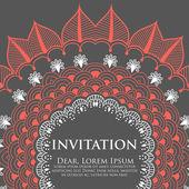Cartão de convite de vetor com laço decorativo redondo — Vetor de Stock