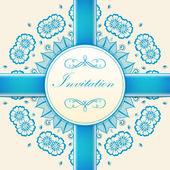 Vector uitnodigingskaart met decoratieve ronde kant — Stockvector