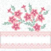 Vetor convite ou cartão de casamento com elegante floral — Vetor de Stock
