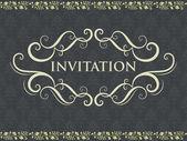 Convite ou cartão de casamento com fundo de damasco — Vetor de Stock