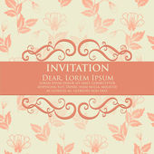 Invitation or wedding card with flower background — Stock Vector