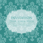 Invitation or wedding card with damask background — Stock Vector