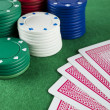Gambling Chips and Cards — Stockfoto