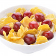 Corn flakes and cherries with yogurt — Stock Photo