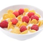 cornflakes en frambozen met yoghurt — Stockfoto
