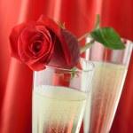 Valentine's Day Champagne — Stock Photo