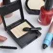 Make-up cosmetics on white background — Foto Stock