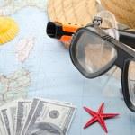 Money for beach vacation — Stock Photo