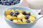Blueberries and cornflakes — Stock Photo