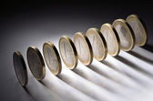 Jedno euro mince — Stock fotografie
