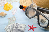 Money for beach vacation — Stock Photo