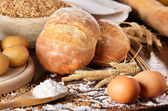 Homemade bread scene — Stock Photo