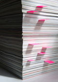 Stack of magazines with markers — Stock Photo