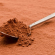 Cocoa powder on a spoon — Photo