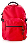 Red backpack standing on white background — Stock Photo