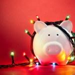 Christmas piggy bank — Stock Photo