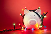 Christmas piggy bank — Stock Photo
