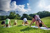 Skupina lidí, kteří dělají jógu — Stock fotografie