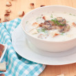 Vegetarian mushroom soup with champignons — Stock Photo
