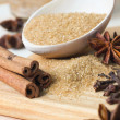Brown sugar in wooden spoon with cinnamon, star anise and cloves — Stock Photo