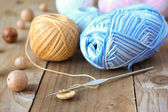 Crochet hook with wooden beads — Stock Photo
