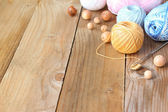 Materials for needlework on wooden table — Stock fotografie