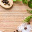 Wooden texture background with cooking ingredients — Stock Photo #36785059