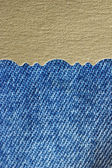 Blue jeans fabric texture with golden paper — Zdjęcie stockowe