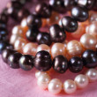 White, pink and black pearls necklace — Stock Photo