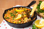 Vegetarian paella with corn — Stock Photo