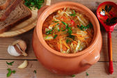 Traditional Russian vegetarian cabbage soup - schi — Stock Photo