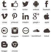 Iconos Redes Sociales Película Granulada — Stock Vector