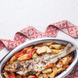 Prepared fish with vegetables — Stock Photo