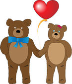 Brown teddy bears with a big heart — Stock Vector