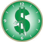 Watch with a dollar sign on the dial — Stock Vector