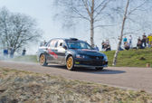 Mitsubishi Lancer Evolution rally car — Zdjęcie stockowe