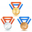 Stock Vector: Three detailed vector medals - gold, silver and bronze