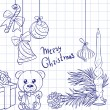 Christmas doodles seamless background 1 — Stock Photo