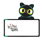 Cat bot in quest Banner — Stock Photo