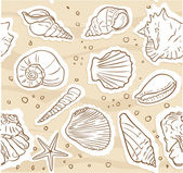 Seamless pattern from shells on the sand — Stock Photo